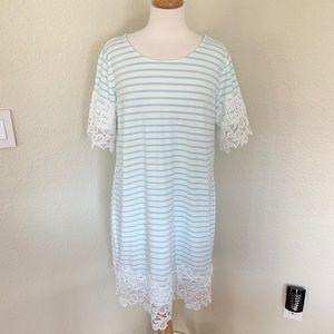 💕TOMMY HILFIGER Striped Lace Trim Dress Size XL💕